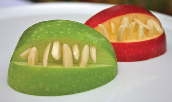 WITCHES TEETH' made from organic apples and almond slivers.