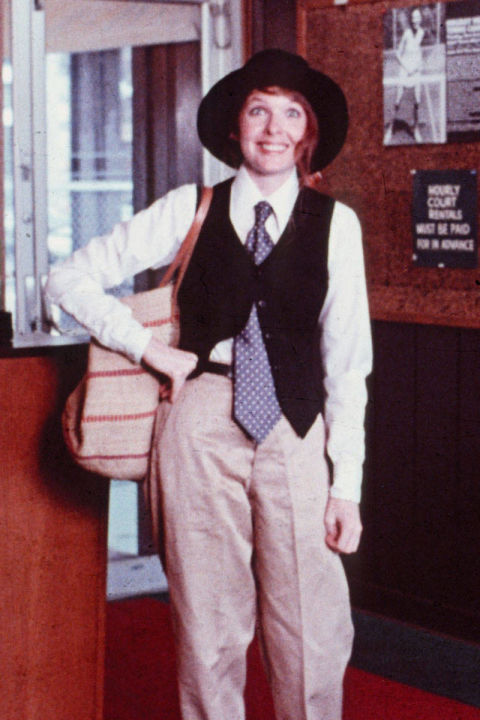 6) ANNIE HALL Wide Leg Khakis + Your Boyfriend's Tie + Vest + Wide Brim Hat = Annie Hall