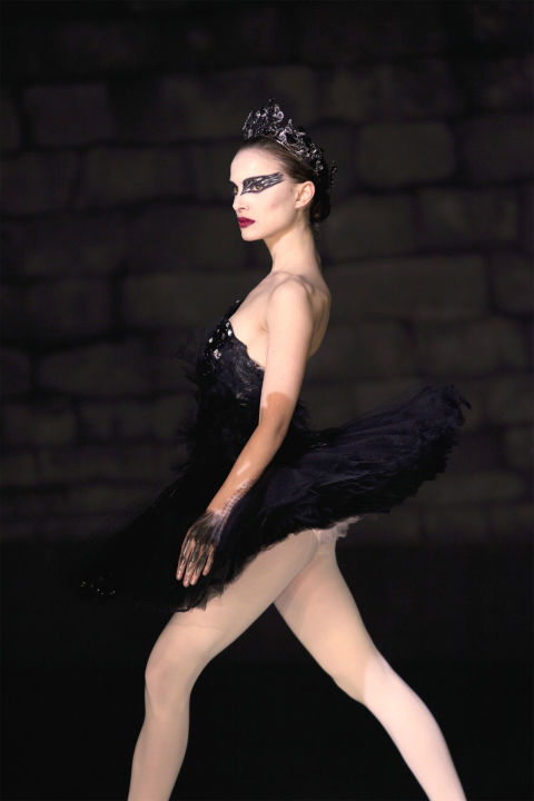 7) BLACK SWAN White Tights + Black Bathing Suit + Black Skirt + Jeweled Headback + Insane Cat-Eye = Nina Sayers