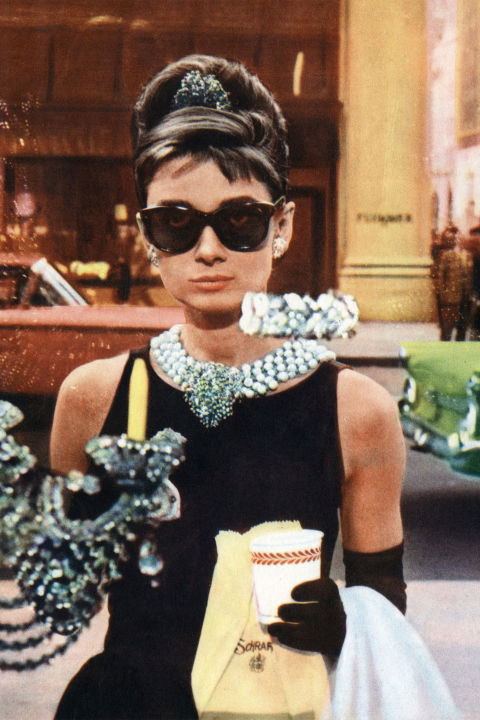 10) BREAKFAST AT TIFFANY'S LBD + Statement Necklace + Black Sunnies + Chignon = Holly Golightly