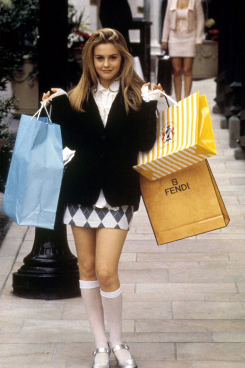 11) CLUELESS Plaid Mini Skirt + White Blouse + Cardigan + Knee Socks + Loafers + Shopping Bags = Cher Horowitz