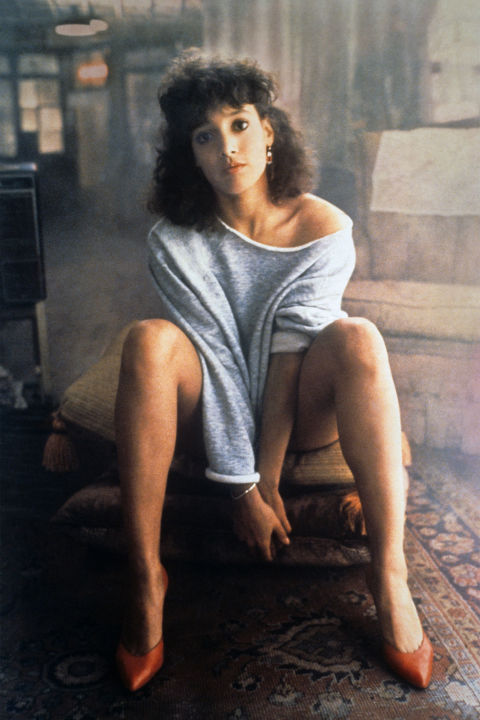 13) FLASHDANCE Cut Sweatshirt + Bathing Suit + Pumps = Alex Owens