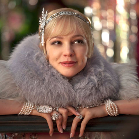 19) THE GREAT GATSBY Sequined or Fringe Dress + Boa + Pearl Jewelry + Gem Headband = Daisy Buchanan