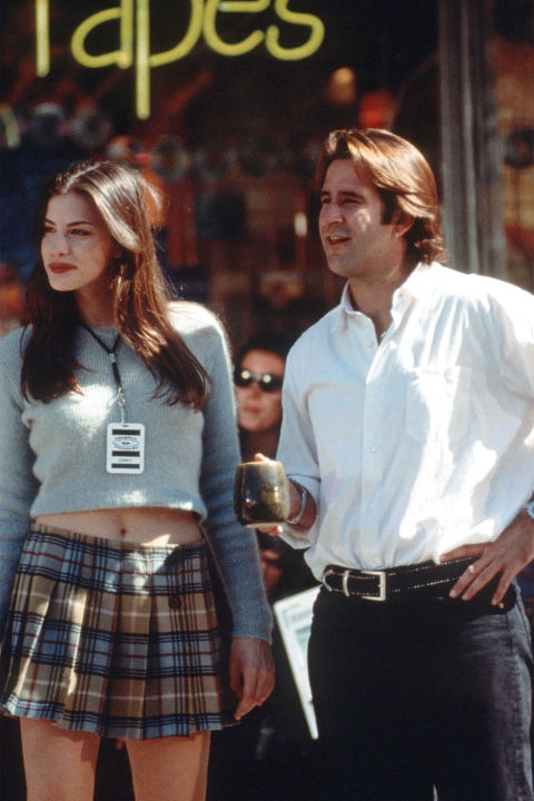 22) EMPIRE RECORDS Cropped Sweater + Plaid Mini + Homemade Empire Records Tag = Corey Mason