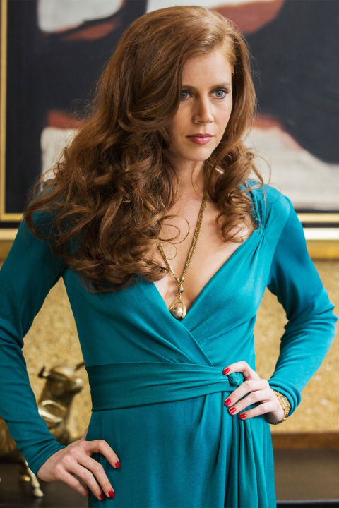 24) AMERICAN HUSTLE A DVF Wrap Dress + Pendant Necklace + Large Barrel Curling Iron = Sydney Prosser