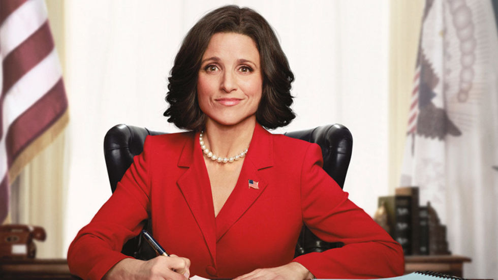 4) VEEP Patriotic Colored Suit or Dress + Stiff Bob + Pearls + American Flag = Selina Meyer